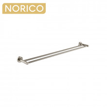Norico Round Brushed Nickel Double Towel Rack Rail 790mm