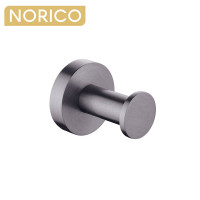 Norico Round Gunmetal Grey Stainless Steel Robe Hook Wall Mounted