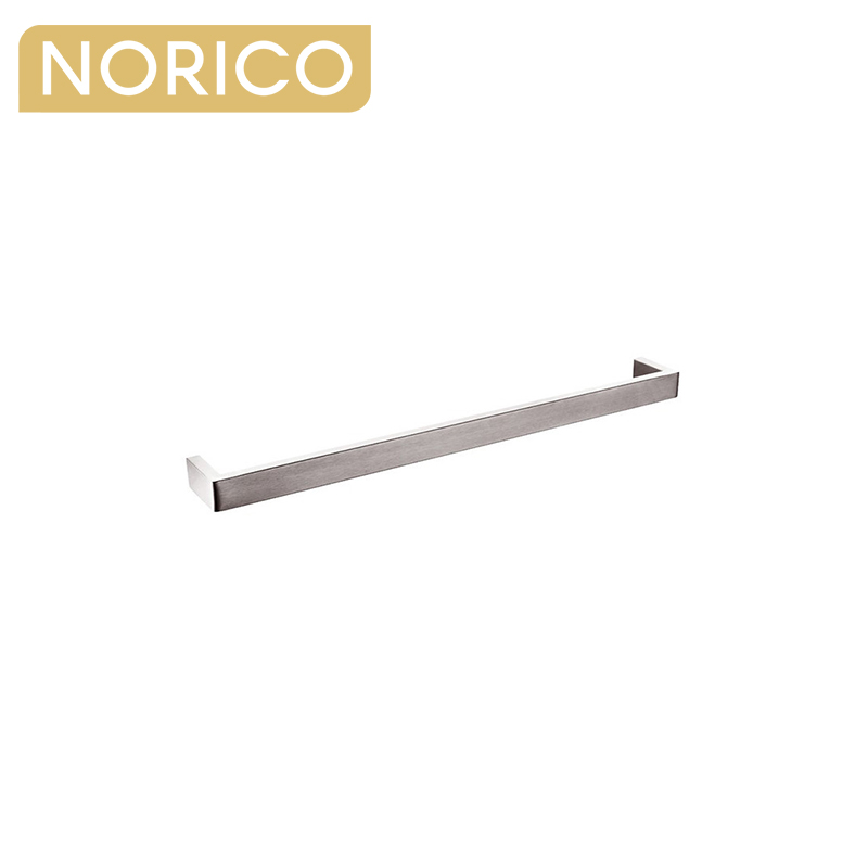 Cavallo Square Brushed Nickel Single Towel Rail 600mm Stainless Steel 304 AR71.05