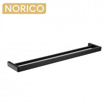 Norico Cavallo 800mm Square Matt Black Double Towel Rail Stainless Steel 304