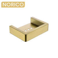 Norico Cavallo Brushed Yellow Gold Soap Dish Holder Square Stainless Steel Wall Mounted