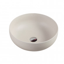 350x350x140mm Sand White Round Above Counter Ceramic Basin with No Overflow for bathroom and vanity