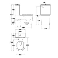 715x390x830mm Avery Ceramic White Box Rim Back To Wall Faced Toilet Suite Standard UF Seat
