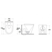 540x355x410mm Avery Wall Faced Toilet Pan with Small Design for bathroom