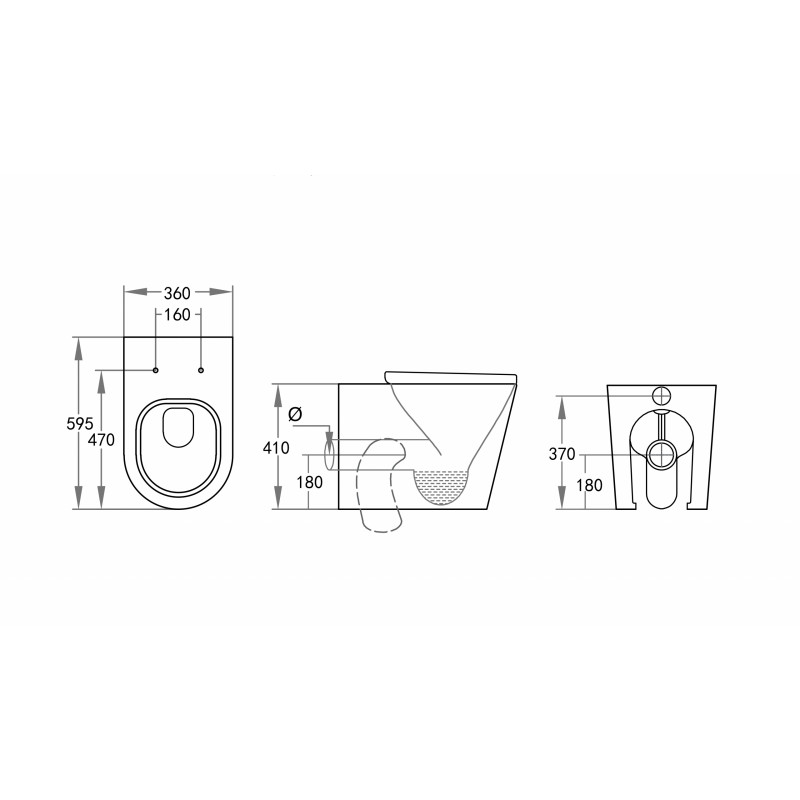 R&T Frameless Inwall Concealed Cistern With BOX RIM Wall Faced/ Floor Pan & Push Button