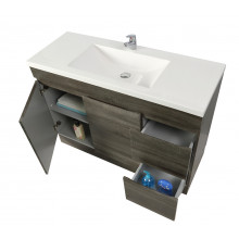 1200x450x830mm Berge Kickboard Bathroom Vanity Freestanding DARK Grey Right Side Drawers PVC Filmed Cabinet ONLY & Ceramic/Poly Top Available