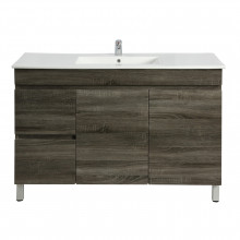 1200x450x830mm Berge Freestanding Bathroom Vanity DARK Grey Left Side Drawers PVC Filmed Cabinet ONLY & Ceramic/Poly Top Available