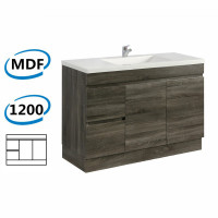 1200x450x830mm Berge Kickboard Bathroom Vanity Freestanding DARK Grey Left Side Drawers PVC Filmed Cabinet ONLY & Ceramic/Poly Top Available