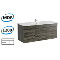 1200x450x550mm Dark Grey Wall Hung Vanity Cabinet with Left Side Drawers and Optional Ceramic Top for bathroom and kitchen
