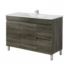 1200x450x830mm Berge Freestanding Bathroom Vanity DARK Grey Right Side Drawers PVC Filmed Cabinet ONLY & Ceramic/Poly Top Available