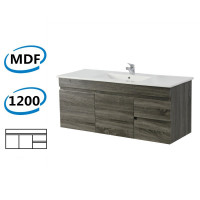 1200x450x550mm Dark Grey Wall Hung Vanity Cabinet with Right Side Drawers and Optional Ceramic Top for bathroom and kitchen
