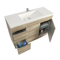 1200x450x830mm Berge Kickboard Bathroom Vanity Freestanding White Oak Left Side Drawers PVC Filmed Cabinet ONLY & Ceramic/Poly Top Available