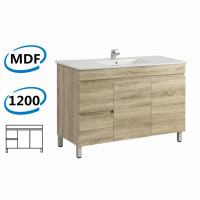 1200x450x830mm Berge Freestanding Bathroom Vanity White Oak Left Side Drawers PVC Filmed Cabinet ONLY & Ceramic/Poly Top Available