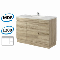 1200x450x830mm Berge Kickboard Bathroom Vanity Freestanding White Oak Right Side Drawers PVC Filmed Cabinet ONLY & Ceramic/Poly Top Available