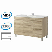 1200x450x830mm Berge Freestanding Bathroom Vanity White Oak Right Side Drawers PVC Filmed Cabinet ONLY & Ceramic/Poly Top Available