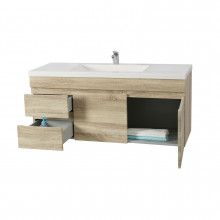 1200x450x550mm White Oak Wall Hung Vanity Cabinet with Left Side Drawers and Optional Ceramic Top for bathroom and kitchen