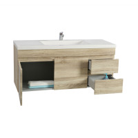 1200x450x550mm White Oak Wall Hung Vanity Cabinet with Right Side Drawers and Optional Ceramic Top for bathroom and kitchen