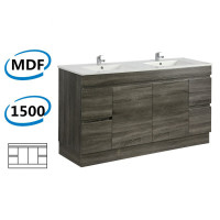 1500x450x830mm Berge Freestanding with Kickboard Bathroom Vanity Dark Grey