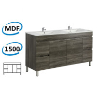1500x450x830mm Berge Freestanding Bathroom Vanity Dark Grey 4 Drawers 2 Doors