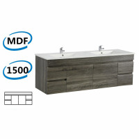 1500x450x500mm Berge Wall Hung Bathroom Floating Vanity Dark Grey 4 Drawers 2 Doors Cabinet