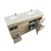 1500x450x830mm Berge Freestanding with Kickboard Bathroom Vanity White Oak
