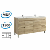 1500x450x830mm Berge Freestanding Bathroom Vanity White Oak