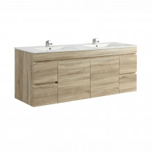1500x450x500mm Berge Wall Hung Bathroom Floating Vanity White Oak Single Double Bowls Available