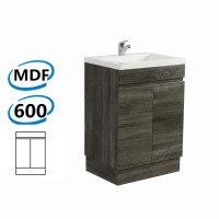 600x450x830mm Berge Bathroom Vanity Kickboard Freestanding Dark Grey Wood Grain PVC Filmed Cabinet ONLY & Ceramic/Poly Top Available
