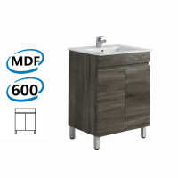 600x450x830mm Berge Bathroom Vanity Freestanding Dark Grey Wood Grain PVC Filmed Cabinet ONLY & Ceramic / Poly Top Available