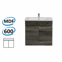 600x450x500mm Wall Hung Bathroom Floating Vanity DARK Grey BERGE PVC Filmed Wood Grain Cabinet ONLY& Ceramic/Poly Top Available