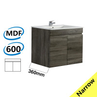 600x360x500mm NARROW Wall Hung Bathroom Floating Vanity DARK Grey BERGE PVC Filmed Wood Grain Cabinet ONLY& Ceramic/Poly Top Available