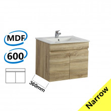 600x360x500mm NARROW Wall Hung Bathroom Floating Vanity White Oak BERGE PVC Filmed Wood Grain Cabinet ONLY& Ceramic/Poly Top Available