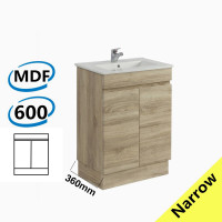 600x360x830mm NARROW Berge Bathroom Vanity Kickboard Freestanding White Oak Wood Grain PVC Filmed Cabinet ONLY & Ceramic/Poly Top Available