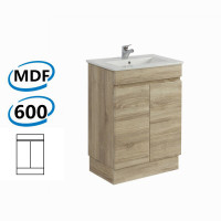 600x450x830mm Berge Bathroom Vanity Kickboard Freestanding White Oak Wood Grain PVC Filmed Cabinet ONLY & Ceramic/Poly Top Available