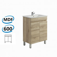 600x450x830mm Berge Bathroom Vanity Freestanding White Oak Wood Grain PVC Filmed Cabinet ONLY & Ceramic/Poly Top Available