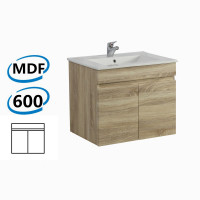 600x450x500mm Wall Hung Bathroom Floating Vanity White Oak BERGE PVC Filmed Wood Grain Cabinet ONLY& Ceramic/Poly Top Available