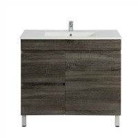 750x450x830mm Berge Bathroom Floor Vanity Freestanding Dark Grey Left Side Drawers PVC Filmed Cabinet ONLY & Ceramic/Poly Top Available