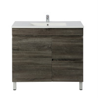 750x450x830mm Berge Bathroom Floor Vanity Freestanding Dark Grey Right Side Drawers PVC Filmed Cabinet ONLY & Ceramic/Poly Top Available