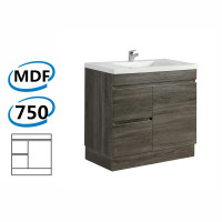 750x450x830mm Berge Bathroom Vanity Kickboard Freestanding Dark Grey Left Side Drawers PVC Filmed Cabinet ONLY & Ceramic/Poly Top Available