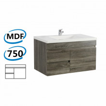 750x450x500mm Wall Hung Bathroom Floating Vanity DARK Grey Left Side Drawers Berge PVC Filmed Wood Grain Cabinet ONLY&Ceramic/Poly Top Available