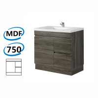 750x450x830mm Berge Bathroom Vanity Kickboard Freestanding Dark Grey Right Side Drawers PVC Filmed Cabinet ONLY & Ceramic/Poly Top Available
