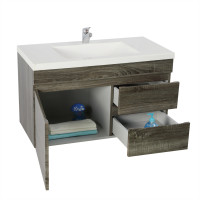 750x450x500mm Wall Hung Bathroom Floating Vanity DARK Grey Right Side Drawers Berge PVC Filmed Wood Grain Cabinet ONLY&Ceramic/Poly Top Available