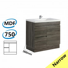 750x360x830mm NARROW Berge Bathroom Vanity Kickboard Freestanding Dark Grey Left Side Drawers PVC Filmed Cabinet ONLY & Ceramic/Poly Top Available