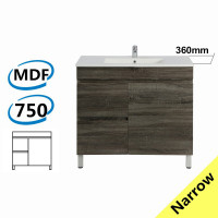 750x360x830mm NARROW Berge Bathroom Floor Vanity Freestanding Dark Grey Left Side Drawers PVC Filmed Cabinet ONLY & Ceramic/Poly Top Available