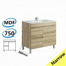 750x360x830mm NARROW Berge Bathroom Floor Vanity Freestanding White Oak Left Side Drawers PVC Filmed Cabinet ONLY & Ceramic/Poly Top Available