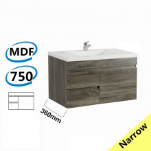 750x360x500mm NARROW Wall Hung Bathroom Floating Vanity DARK Grey Left Side Drawers Berge PVC Filmed Wood Grain Cabinet ONLY&Ceramic/Poly Top Available
