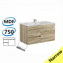 750x360x500mm NARROW Wall Hung Bathroom Floating Vanity White Oak Left Side Drawers Berge PVC Filmed Wood Grain Cabinet ONLY&Ceramic/Poly Top Available