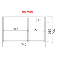 750x360x500mm NARROW Wall Hung Bathroom Floating Vanity DARK Grey Right Side Drawers Berge PVC Filmed Wood Grain Cabinet ONLY&Ceramic/Poly Top Available