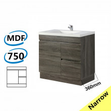 750x360x830mm NARROW Berge Bathroom Vanity Kickboard Freestanding Dark Grey Right Side Drawers PVC Filmed Cabinet ONLY & Ceramic/Poly Top Available