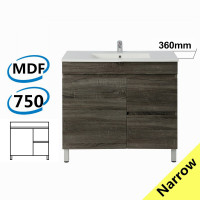 750x360x830mm NARROW Berge Bathroom Floor Vanity Freestanding Dark Grey Right Side Drawers PVC Filmed Cabinet ONLY & Ceramic/Poly Top Available